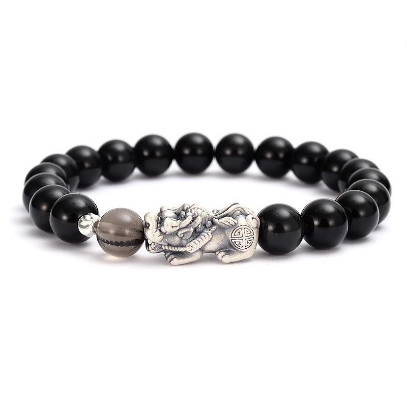 Black Obsidian Stones Beaded Bracelet Chinese Pixiu Charm Wealth Bracelet Son of Dragon Lucky Amulet Gifts