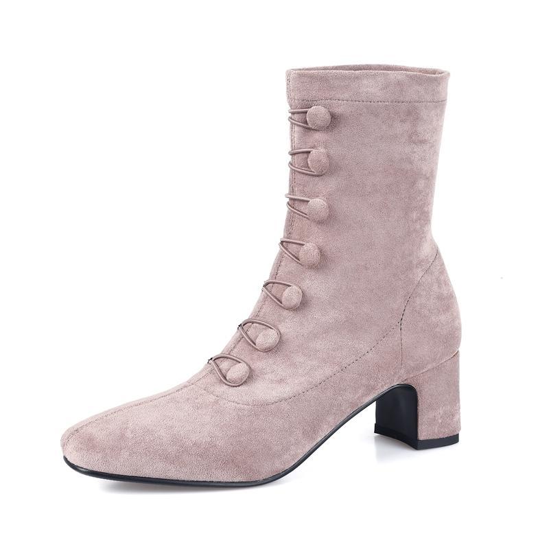 부츠 스트레치 스웨이드 여성 양말 발목 부츠 여성 사각형 발가락 두꺼운 발 뒤꿈치 신발 숙녀 패션 따뜻한 겨울