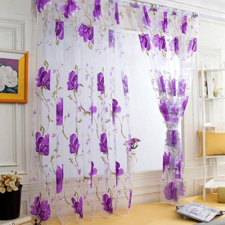 Готовые на заказ цветов Цветочные Voile Sheer Тюль Шторы для гостиной Спальня Кухня двери окна Home Decor, 1 PCSAug16 KNzx #