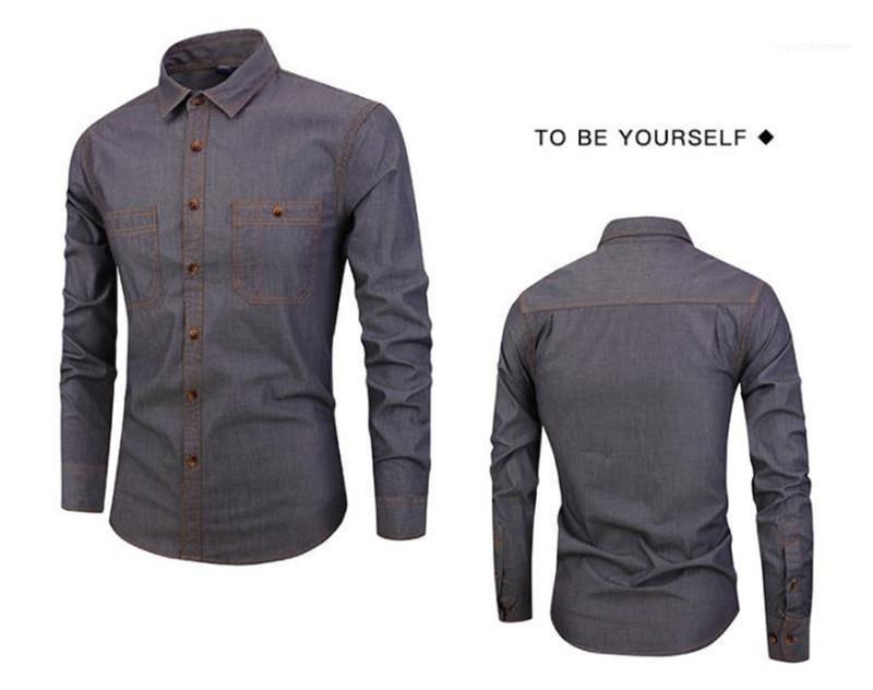 Vêtements pour hommes solides Couleur Chemises Mode Slim poches Hommes Chemises Designer Casual manches longues hommes