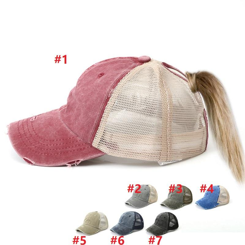7 ألوان غسلها ذيل حصان قبعة بيسبول المرأة فوضوي كعكة البيسبول قبعة snapback قبعات الشمس قبعات صافي السطح تنفس القبعات