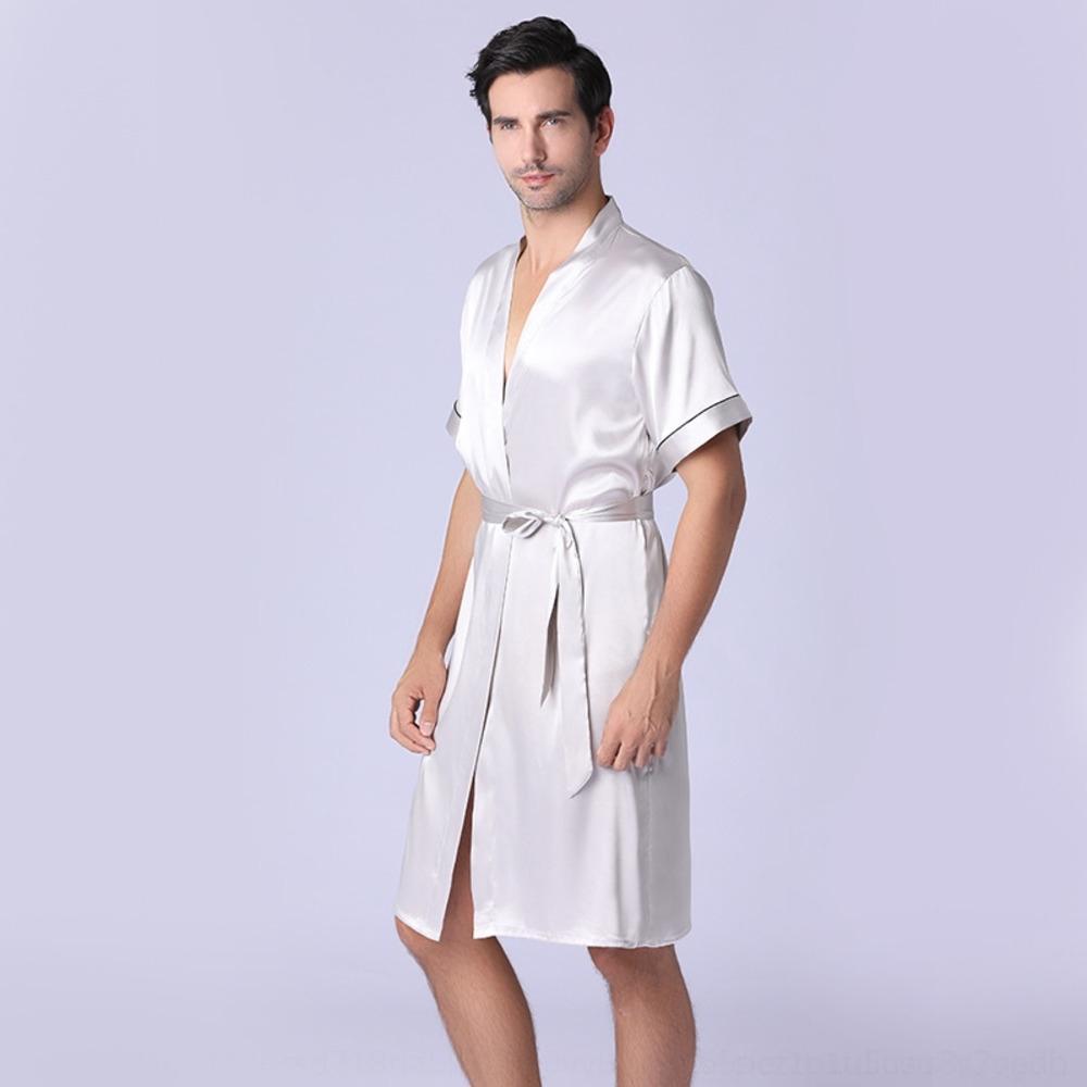 2hnX6 Yaoting primavera y otoño nueva manga larga pijama bata de seda camisón camisón Inicio caseros ropa larga de los hombres pijamas de baño hombre'