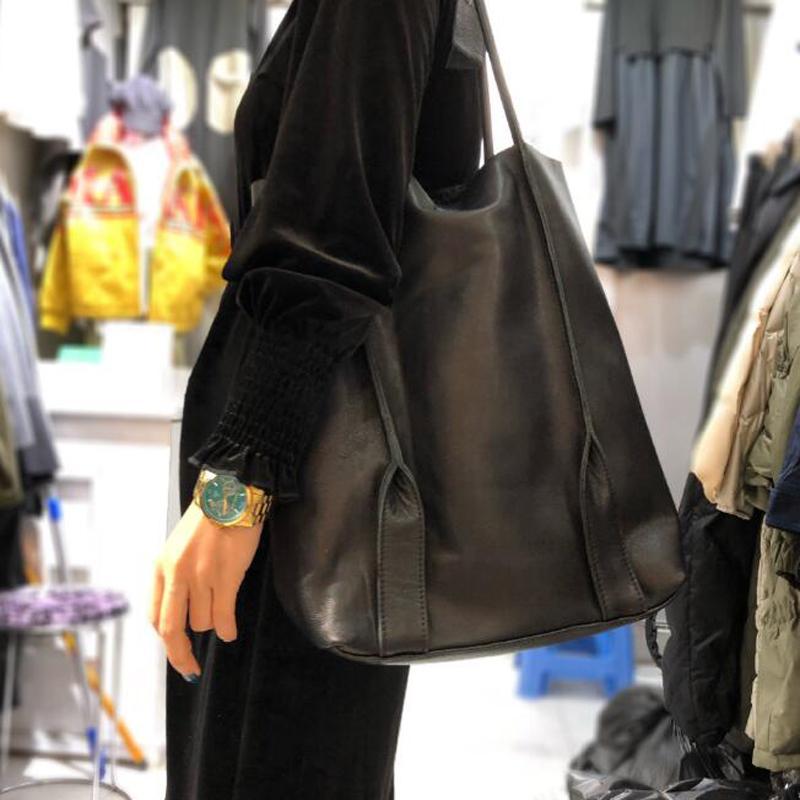 Borse a tracolla solido a tracolla in pelle naturale borsa vintage in tessuto, 100% pelle bovina reale borse casuali superiori di grandi dimensioni Tote per le donne