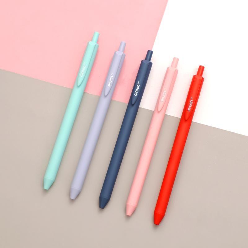 Jianwu 5шт / комплект Morandi Гелевая ручка 0.4mm игла Pen Press Простой и Быстросохнущий для студентов журнал Kawaii Школьные принадлежности