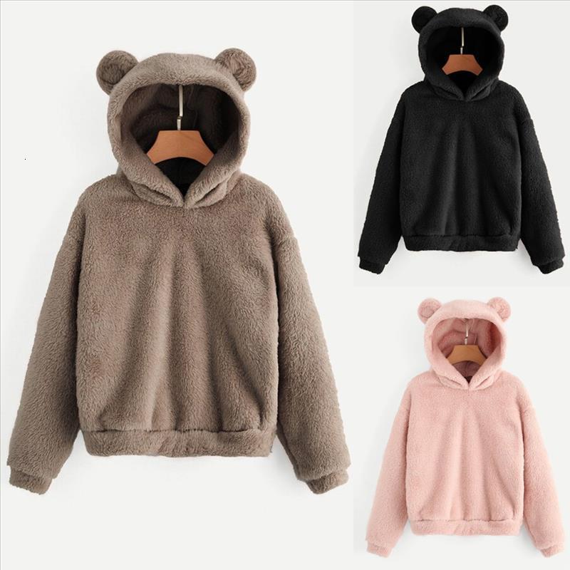 Sudaderas Mujer 2020 manica lunga in pile Felpa Warm figura dell'orso di Harajuku Donne Fuzzy con cappuccio Pullover femminile Tuta Coat