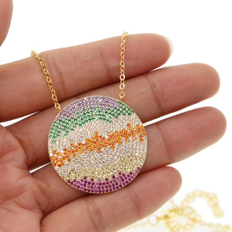 turkish evil eye jewelry gold filled mix color multi cubic zirconia color big round pendant micro pave cz colorful necklace