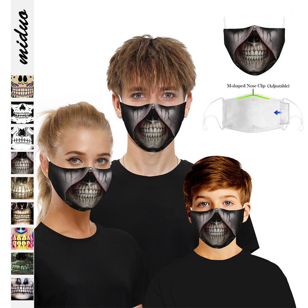 Хэллоуин скелет 3D цифровая печать ежедневно висит уха установлен фильтр свободной защитной маски Washable
