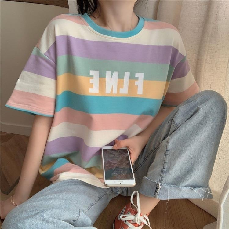 EPsny 2020 Estate formato breve cappotto millimetro grasso sciolto dimagrante arcobaleno T-shirt top delle donne in alto a strisce maniche T-shirt