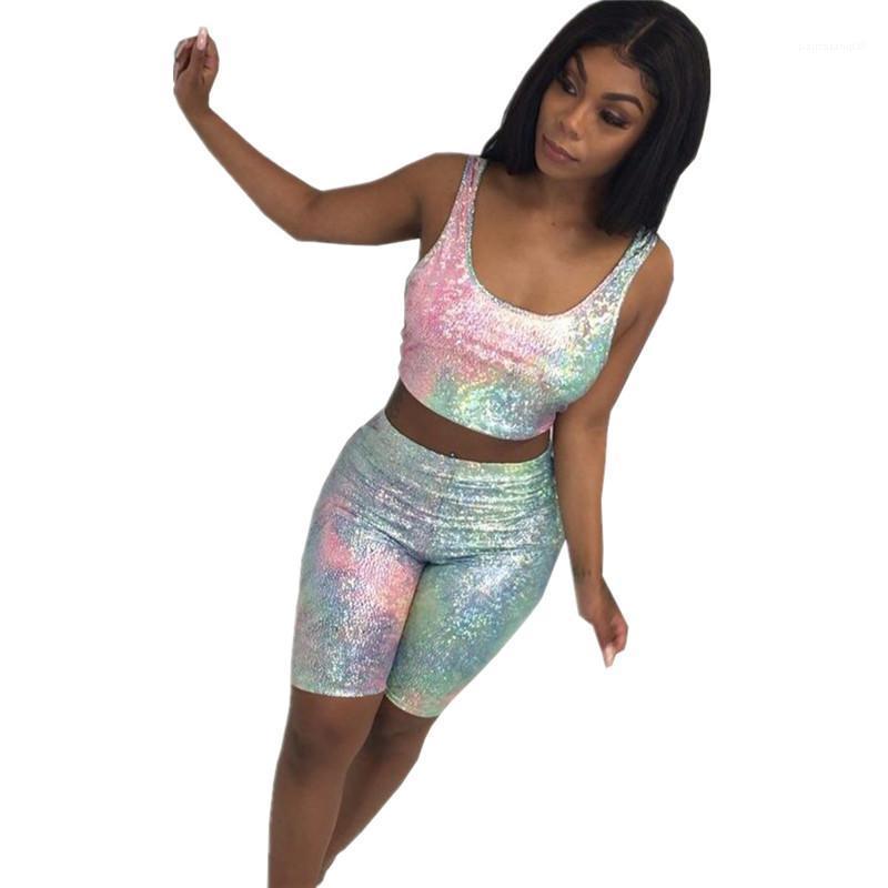Parça kıyafetler Tasarımcı Lazer Kadın eşofman Scoop Boyun Seksi Mahsul Kısa Pantolon Moda Kadınlar Kulübü İki Tops