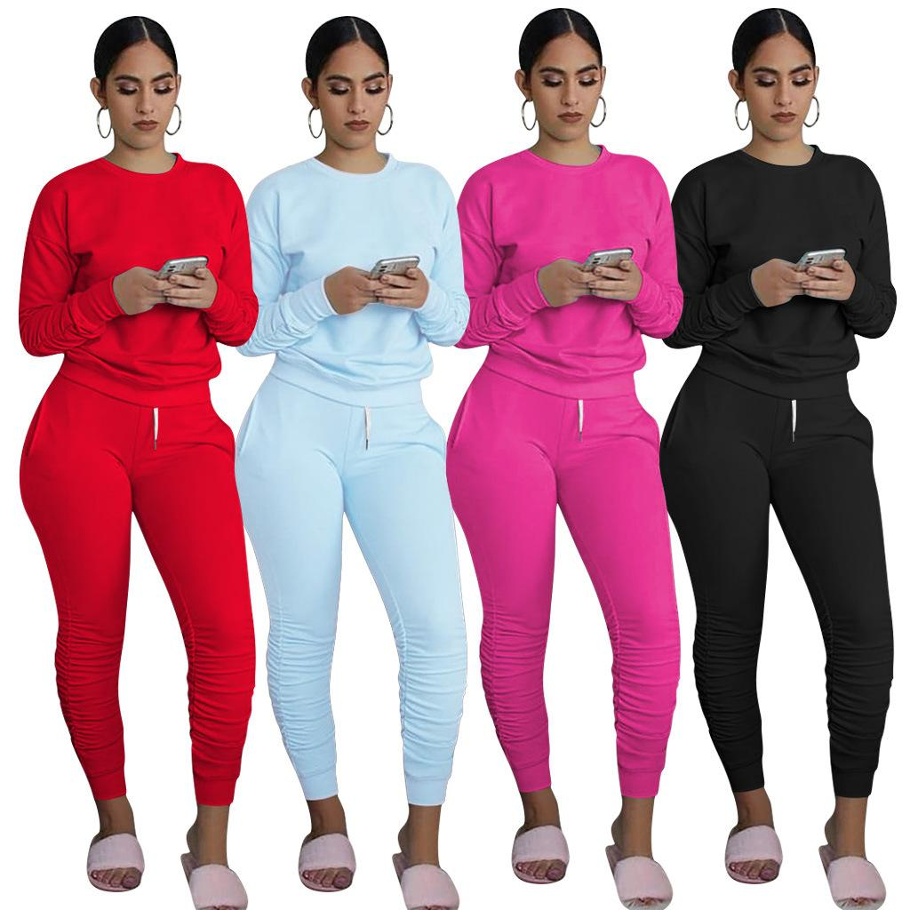Casual Sport Women Two Piece Set Tracksuit Long Sleeve Sweatshirt Tops Stacked Jogger Sweatpant Suit Outfit Matching Set