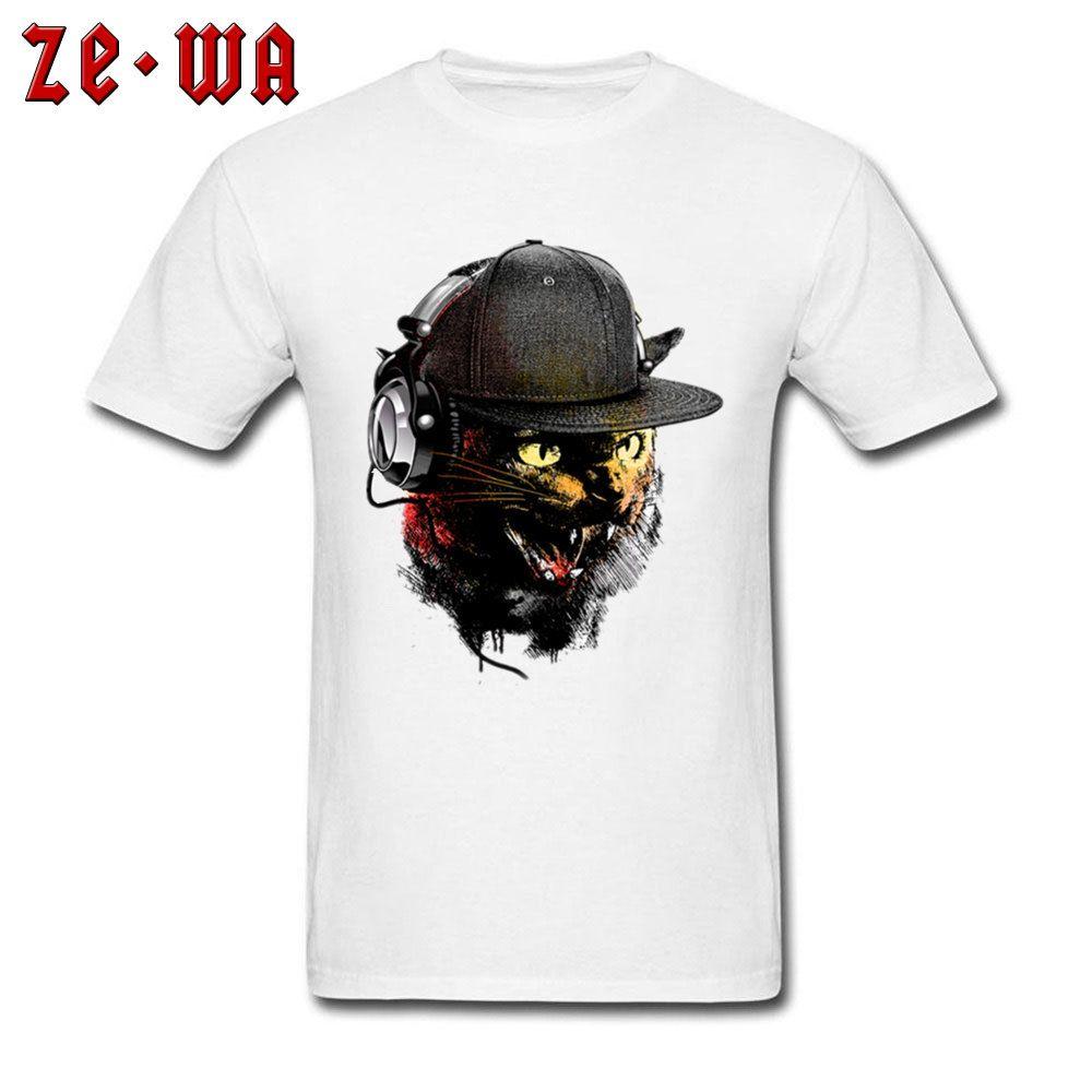 Withe Tops / T-Shirts Großer Verkauf DJ Katzen-Druck-T-Shirts Camisa Herren Kurzarm Slim Fit T-Shirt Natürliche Baumwolle Freizeit Tees Coole Tops