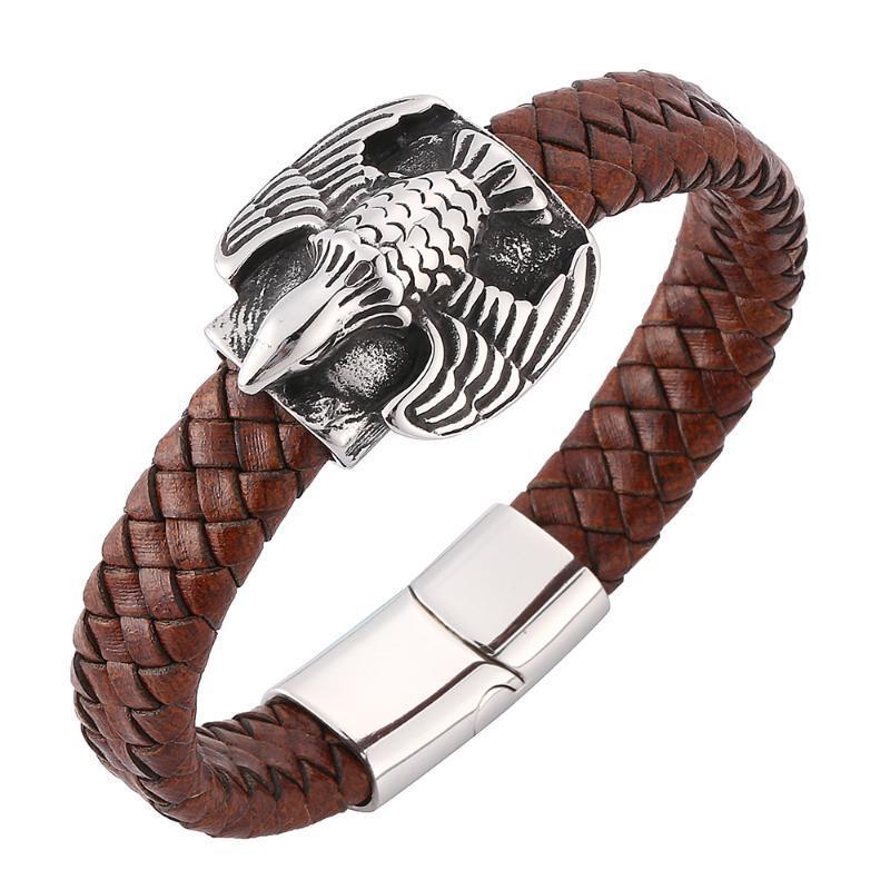 marron rétro hommes aigle personnalité tissé bracelet en cuir bracelet glamour mode boucle magnétique en acier inoxydable 7-SP0167