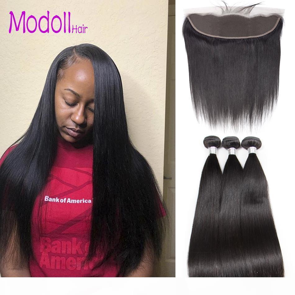 Droit de cheveux humains Bundles avec dentelle Frontal Raw Virgin Bundles cheveux indiens avec Frontal Closures grade 9A 30 pouces Bundles Avec Frontal
