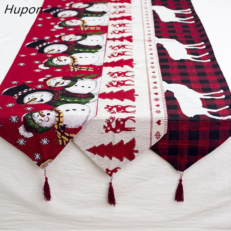 Cotton Embroidered Christmas Table Runners 180*35cm Deer Christmas Tree Table Runner Cloth Cover for Home New Year Decoration