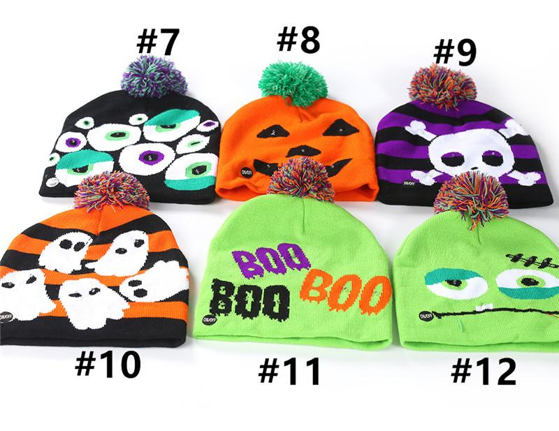 12 Styles LED Hallowmas Designers Knitted Hats Adult Child Pumpkin Skull Snowman Light Caps Christmas Colorful Lamp Hat with Hairball B82104