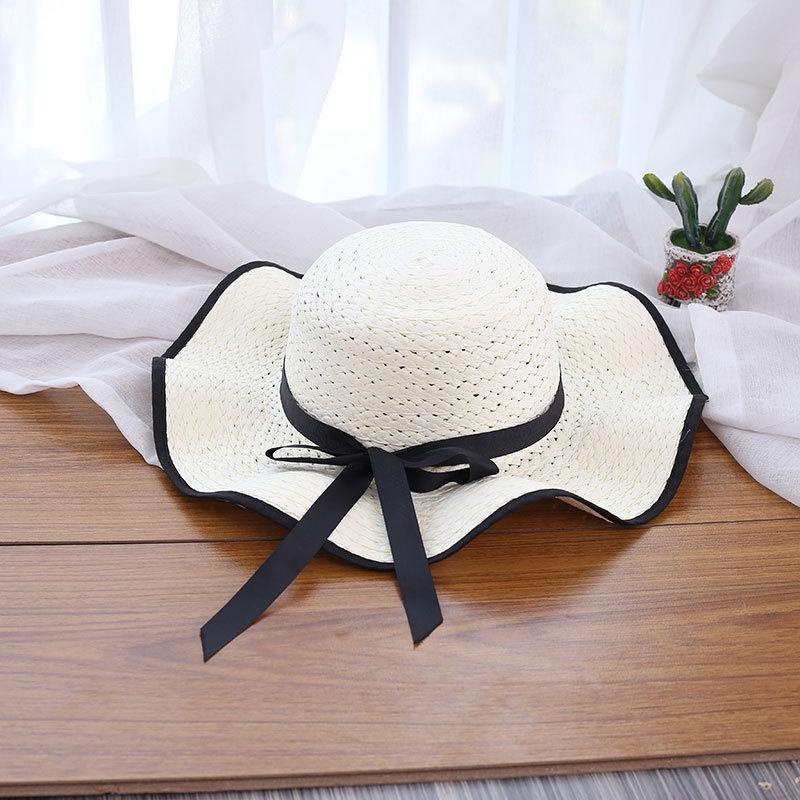 морское лето gcZ6D Женское ВС соломы Бабочка соломенная шляпа путешествия большие карнизы пляж ВС шляпа мода лето лук корейски
