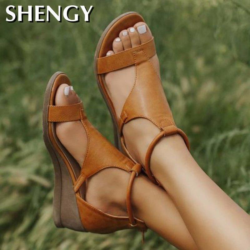 2020 Frauen-Sommer-Sandale mit mittelhohem Absatz-Keil-Schuh-Frauen-Weinlese-Büro-Party-Strand-Schuhe Plus Size