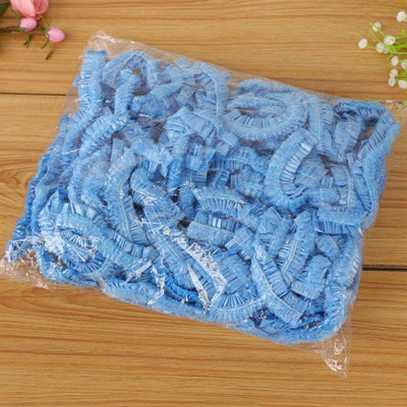 Douche en plastique non couvercle en plastique poussière Chapeau Douche Cheveux Bleu Cap tissé Bonnet tissé Showercaps Douche non MPBFf CE2007