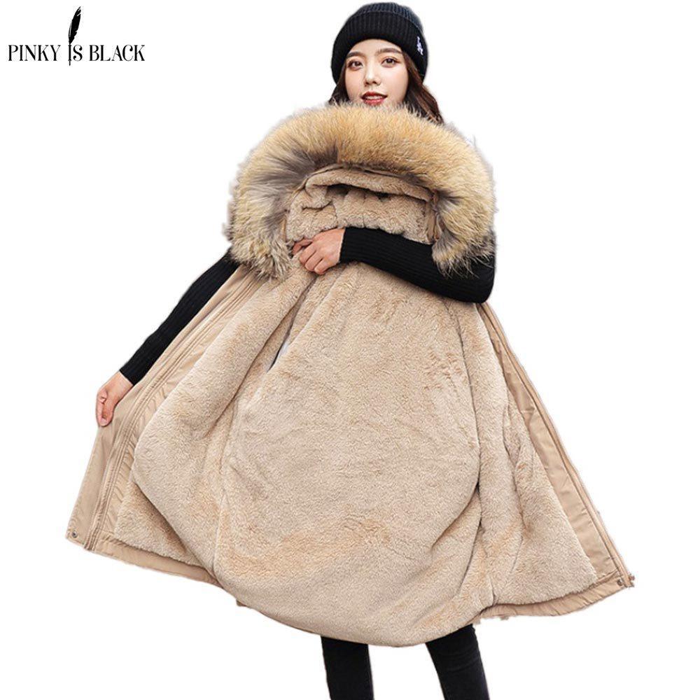 PinkyIsBlack 2020 Cotton verdicken warme Winterjacke Frauen beiläufiges kurzer Parka Pelz-Futter mit Kapuze Mujer Mantel-Winter-Frauen Kleidung