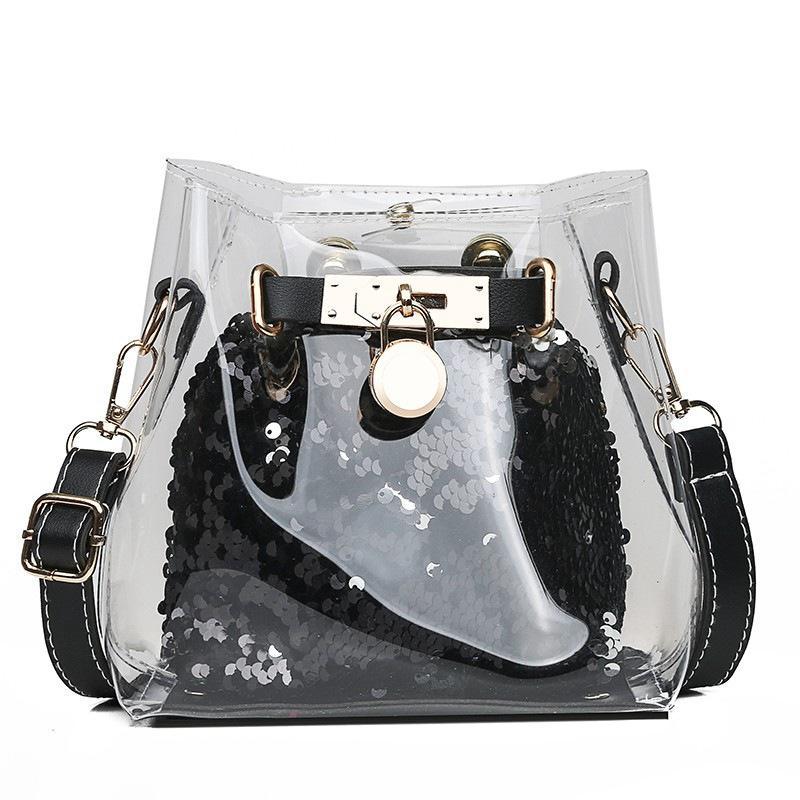 Feminina Crossbody Women Bag Bolsas PVC Saco Clear Sac Mulheres Bolsa 2020 Marca do Ombro Bling Transparente Balde de Férias Wqfvs