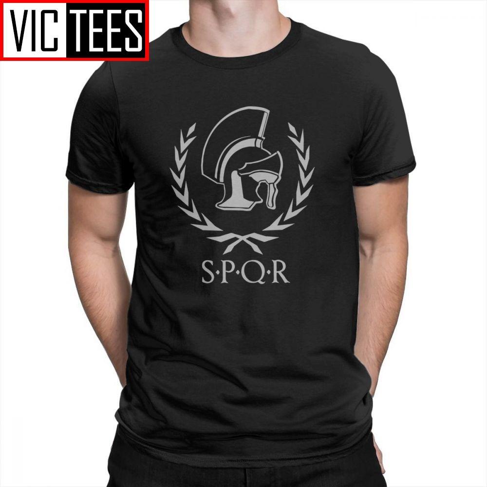 SPQR homens camisetas Moda Roma 100% grinalda e t-shirt Capacete Laurel Tees Homens de algodão de manga curta clássico Rodada Collar