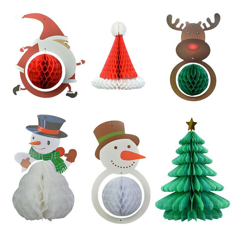1шт Симпатичные Рождественский бал Honeycomb Санта-Клаус Hat Снеговик Elk бумажный фонарь Рождество Новый год Главная Висячие Декор для вечеринок