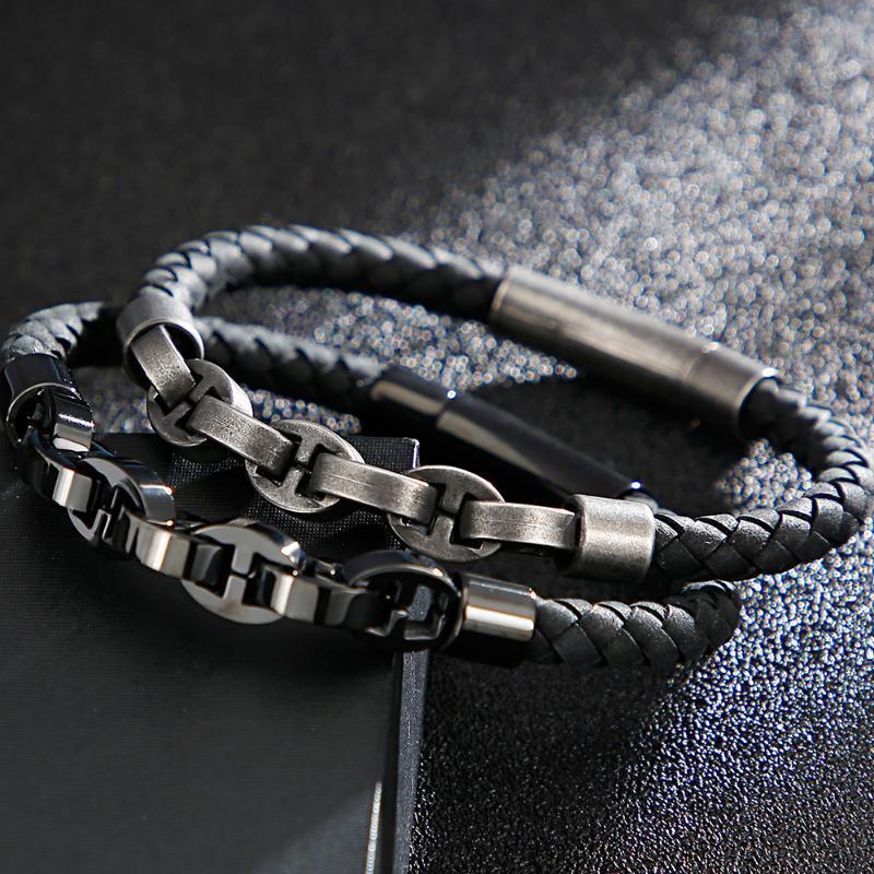 6 mm de ancho trenzado tejido de piel para hombre de acero pulseras masculino joyería inoxidable de los hombres cuerda pulsera regalo de cumpleaños para el novio Cadena
