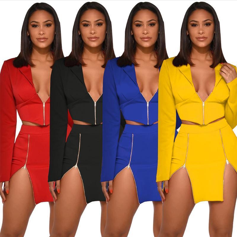 Zoctuo 2020 Kadınlar Seksi İki adet Seti V boyun Küçük Suit İki Adet Set Patchwork Katı Uzun Kollu Üst + Etek
