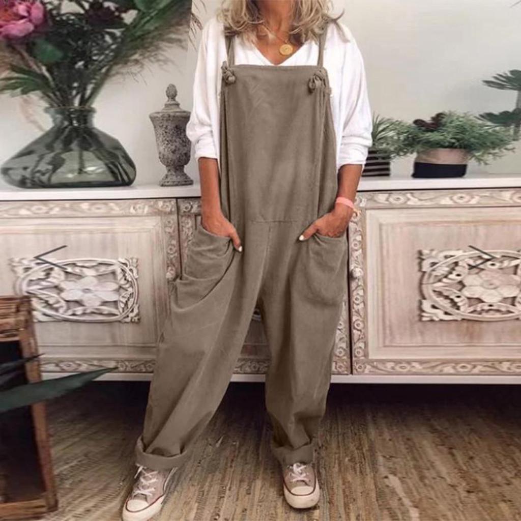 Le donne Plus Size Tuta allentato casuale delle tute Salopette pagliaccetto Baggy Tuta tuta Monos Largos Mujer Pantalon Largo # J4S
