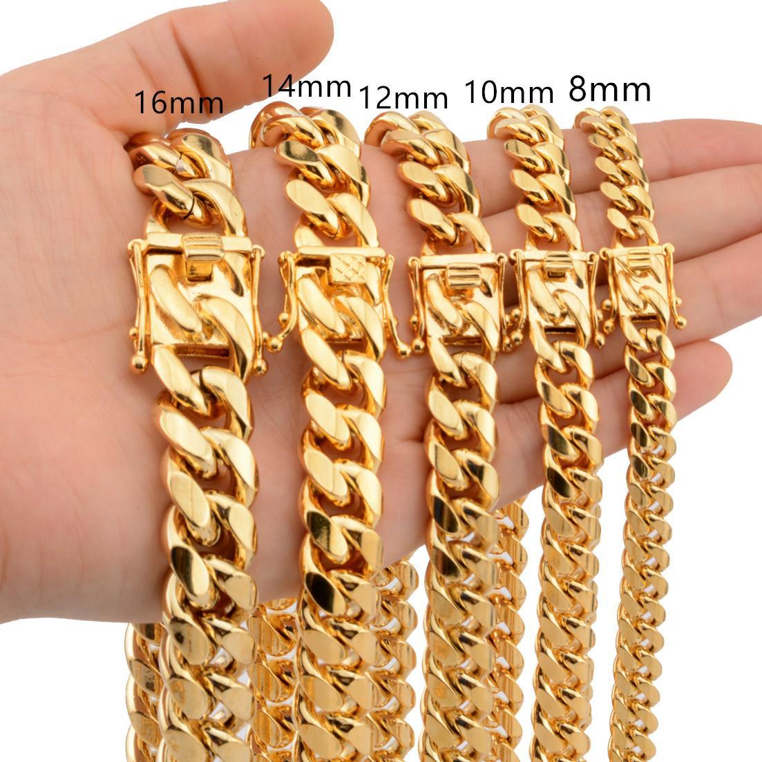 Oro de calidad superior de acero inoxidable Enlace cubana Cadena 8/10/12/14/16 / 18mm 18-30inches Collar largo pesada