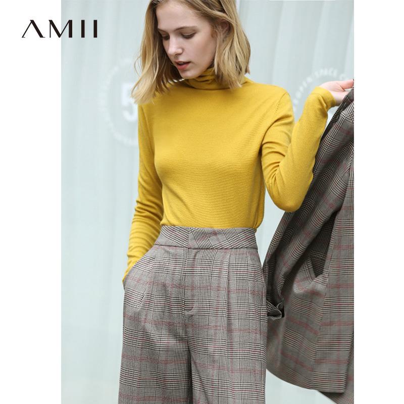 Suéter causal de AMII Minimalismo otoño invierno de las mujeres del cuello alto básico sólido suéteres para el suéter de las mujeres tapas de las mujeres 1216 200930