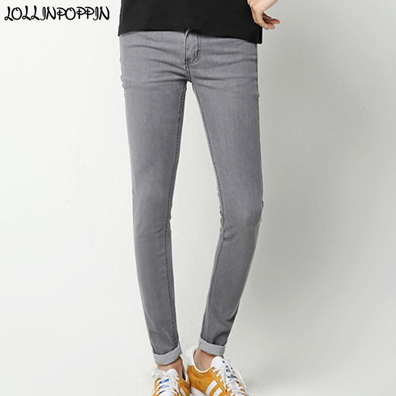 Hombres Gris Vaqueros ajustados dril de algodón delgado Pantalones Nueva 2020 Mens de la manera coreana elástica pantalones vaqueros grises envío