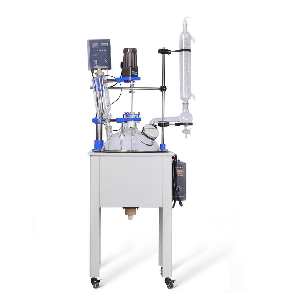 Reator de vidro de camada única ZZKD F-50L para uma variedade de operações de processo dissolução e instrumento de laboratório de reação química