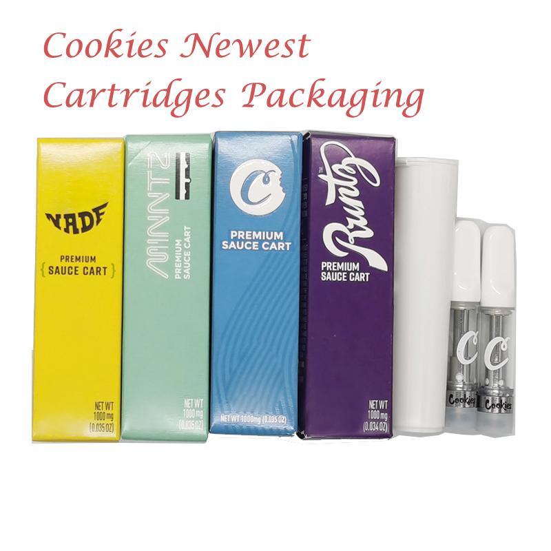 Nuovi cookie Vape cartucce Packaging vaporizzatore 510 cartucce di discussione in ceramica Coil Vape Carts 0,8 ml 1,0 ml E Cigs atomizzatori vuoto