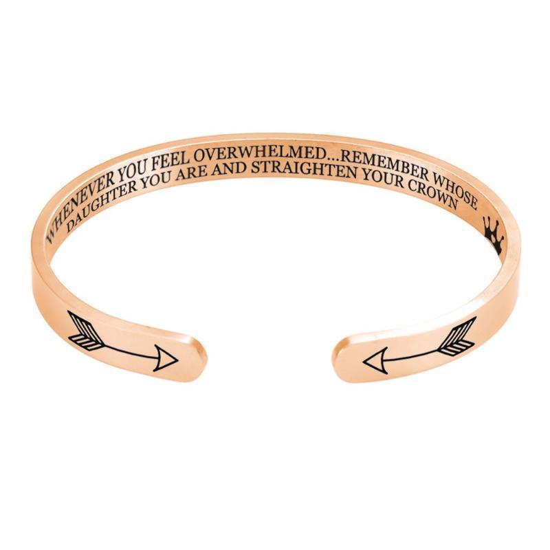 Il nuovo modo delle donne di colore solido degli uomini del braccialetto di raddrizzare la femme Corona Inspirational Bracciale in acciaio inciso Bangle