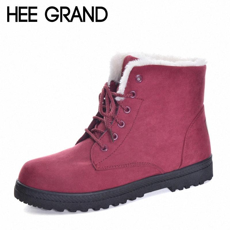 HEE GRAND New Arrival style britannique Bottes de neige Femme Mode hiver chaud Chaussures à lacets Bottes hiver Taille 35 44 XWX6171 LKDC #