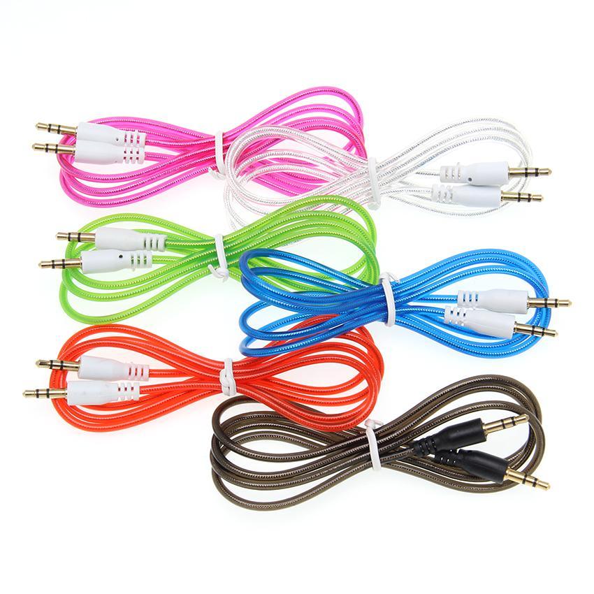 Gold латуни Штепсельного 3,5 мм разъем Aux кабель мужчина к аудио кабели Линии для iPhone MP3 / 4 наушников Speaker Wire 100шта
