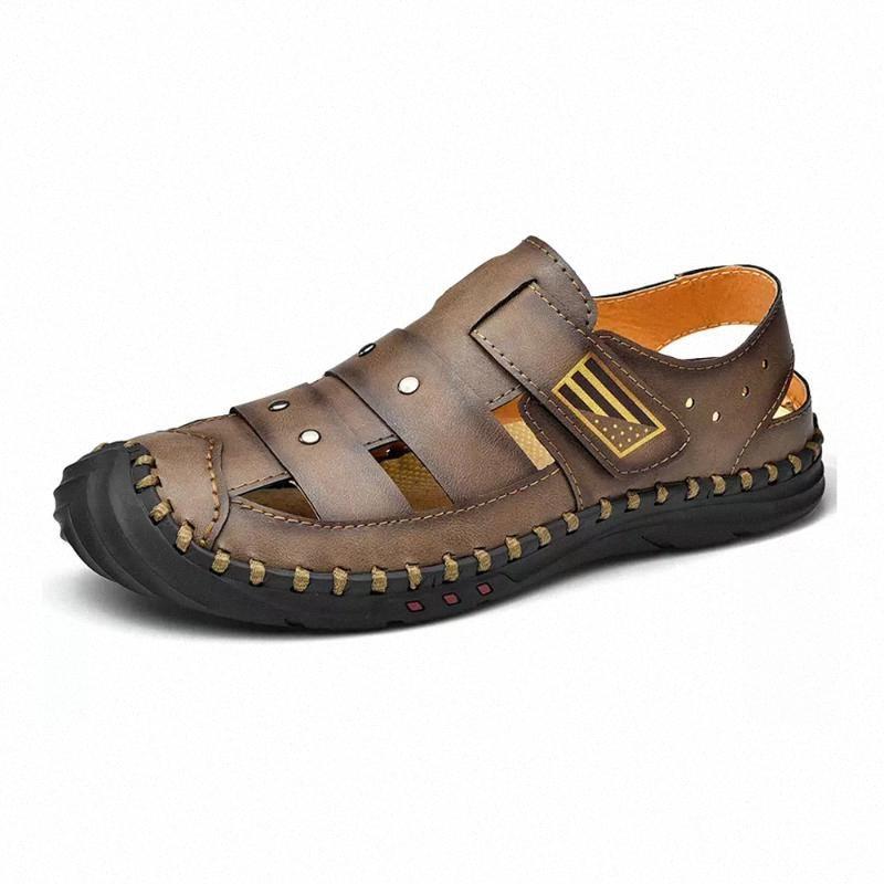 Sandales d'été en cuir classique pour hommes Sandales hommes en cuir eau Trekking extérieure antidérapante en caoutchouc Sneaker plage bas 5RPz #