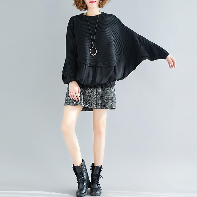 Plus Größe lösen Stitching Stricken Pullover Frauen Pullover Schläger-Hemd Top 2020 Herbst-Winter-Vintage-Langarm-Stitching-Strickjacke
