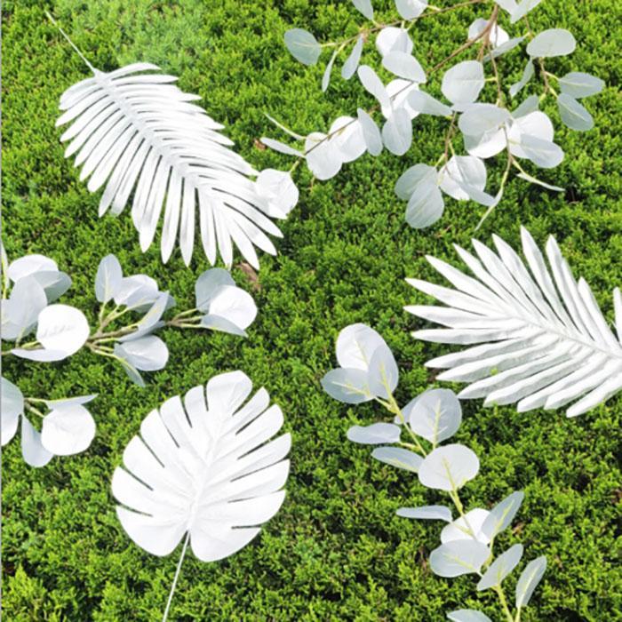 IN-Fälschungs-Silber-Blättern Bananen-Blatt Künstliche Blumen Blätter Tropische Pflanze Office Home Hochzeit Garten Innenministerium Dekoration