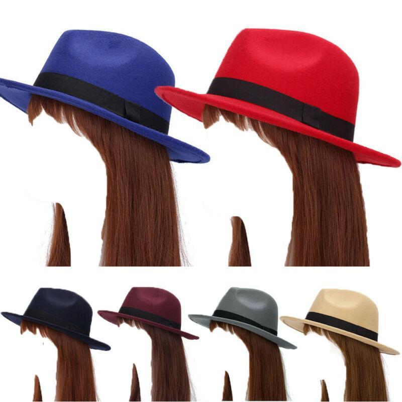 Retro Frauen Wollfilz Panama Hüte Formale Party Jazz Panama Breitrand Fedoras Hut Mütze Dame Hut Herbst Weibliche Fedoras