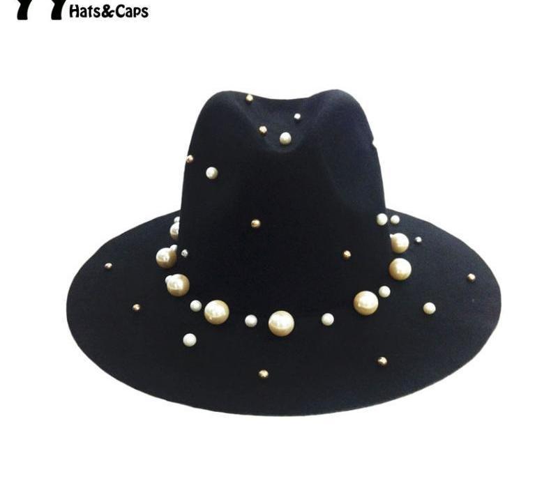 Mode Vintage Laine Trilby Femmes Perle Soild Caps Jazz Automne / Hiver Mesdames Chapeaux en feutre Fadora Chapeau Feutrée