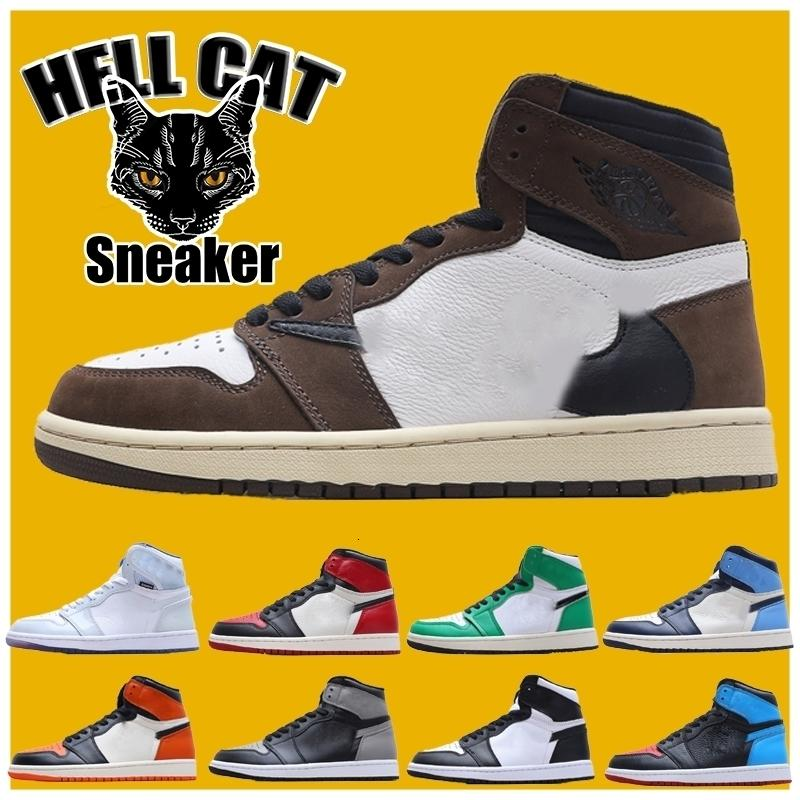 Metà Jumpman 1s Shoes Womens Mens Basketball Chicago nero Toe alta OG Fumé Grigio 1 formatori sneakers Pino Verde Ossidiana