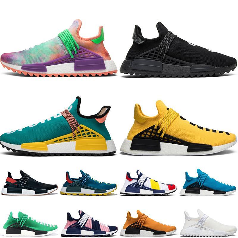 Corrida das mulheres dos homens NMD Humano Pharrell Williams clássico Running Shoes Sample Pack Laranja Solar Yellow Homens Runner treinadores desportivos Sneakers
