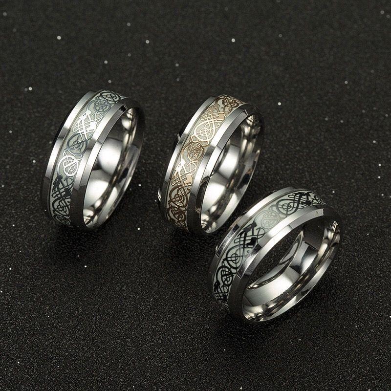 Explosions Popular Fashion Mens titanium steel ring jewelry plating night light dragon ring fluorescent new jewelry Halloween gifts wholesal