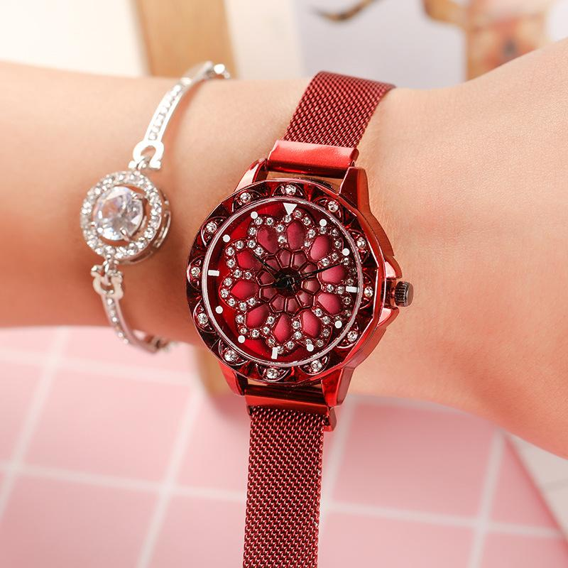 women's watch 2020 New Style Girls Hollow Diamond Quartz Clock Magnet Buckle Lady Dress relogio femininoWristwatch