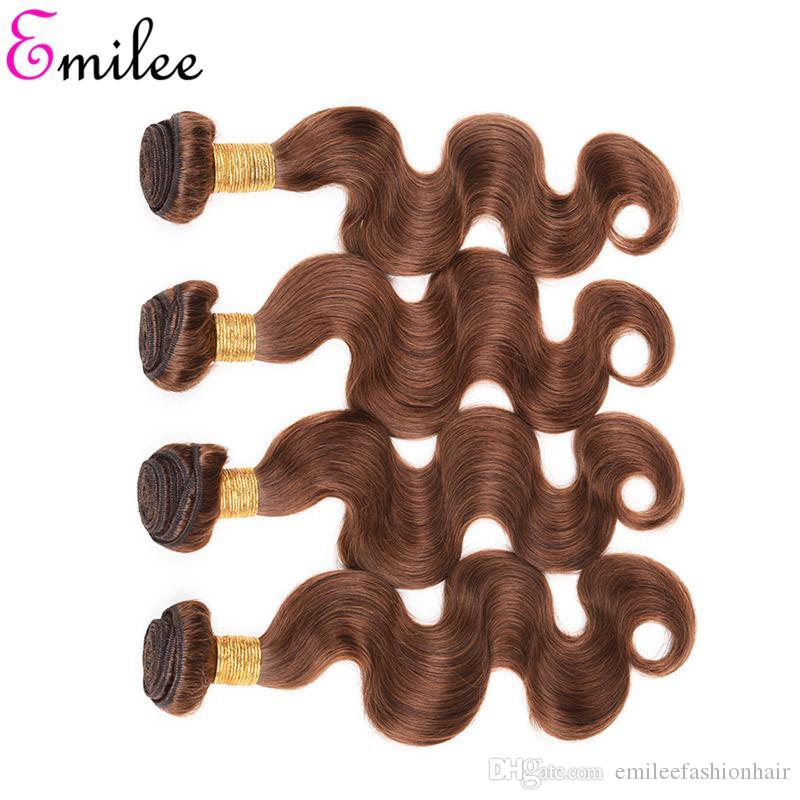 Emilee Color 4 Ombre Hair Bundles Chocolate Brown Body Wave Hair Bundles with Lace Closure Indian 4# Remy Hair Weave