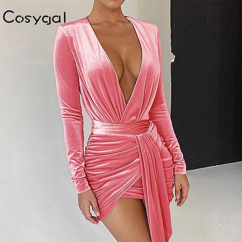 COSYGAL 2019 осень зима платье Lace Up Sexy Velvet платья Глубокий V шеи Bodycon платье партии женщин одежда с длинным рукавом Vestidos T200911