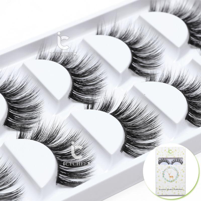 5 Çiftleri / Kutu Makyaj Yanlış Eyelashes Seti 3D Lash Mink Kalın Uzun% 100 Vizon Yumuşak El yapımı Kalın Sahte Göz Lashes