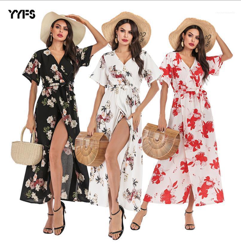 Gasa con cuello en V manga separamos largo de Boho maxi vestidos de las mujeres del vestido floral de verano corto